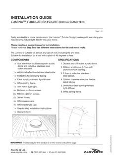 Download the Lumino 300 Tubular Skylight Installation Guide