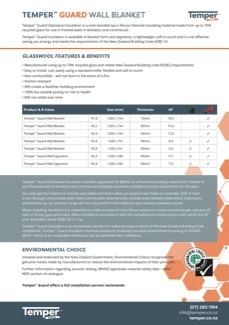 Temper™ Guard Wall Blanket - Data Sheet